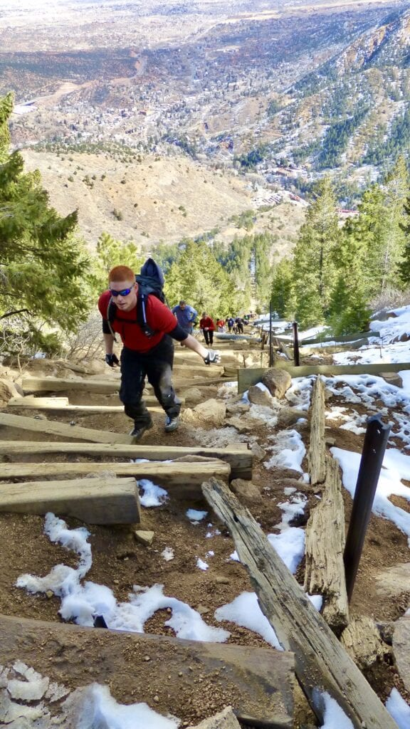 Step after difficult step on the Pikes Peak Incline